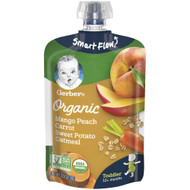 3 PACK OF Gerber Organic Toddler Baby Oatmeal Food Pouch Mango Peach Carrot Sweet Potato -- 3.5 oz