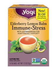 3 PACK OF Yogi Elderberry Lemon Balm Immune + Stress Tea Caffeine Free -- 16 Tea Bags