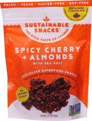 3 PACK OF Sustainable Snacks Chocolate Superfood Snacks Spicy Cherry and Almonds with Sea Salt -- 4 oz