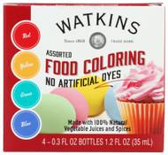 Watkins Assorted Food Coloring -- 4 Pack