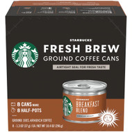 Starbucks Fresh Brew Breakfast Blend Ground Coffee Cans -- 8 Cans