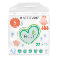 Attitude Baby Diapers Junior Size 5 -- 22 Diapers