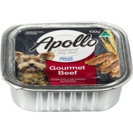 5 PACK of Apollo Adult Dog Food Gourmet Beef 100g