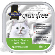5 PACK of Fussy Cat Grain Free Lamb & Chicken With Peas 85g
