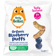 5 PACK of Baby Bellies Organic Puffs Blueberry 12g