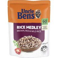 5 PACK of Uncle Ben's Microwave Brown Red & Wild Rice Medley 250g