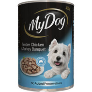 5 PACK of My Dog Adult Wet Dog Food Chicken & Turkey Banquet Can 400g