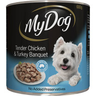 5 PACK of My Dog Tender Chicken & Turkey Loaf Classics Wet Dog Food Can 680g