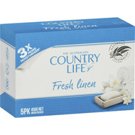5 PACK of Country Life Soap Bar Fresh Linen 5 pack