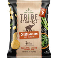 5 PACK of Tribe Organics Rice Cracker Cheese & Onion  6 pack