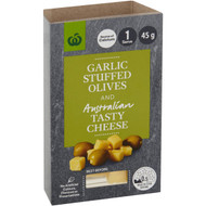 5 PACK of WW Tasty Cheese & Garlic Stuffed Olives 45g
