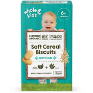 5 PACK of Whole Kids Organic Soft Cereal Biscuits - Oatmeal 120g