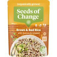5 PACK of Seeds Of Change Organic Brown & Red Rice With Quinoa & Linseed 240g