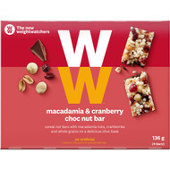 5 PACK of Weight Watchers Macadamia & Cranberry Bars 4 pack