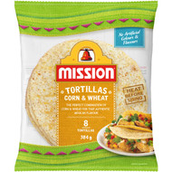 5 PACK of Mission Corn & Wheat Tortillas  384g