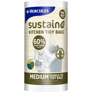 5 PACK of Hercules Sustain 60% Plant Based Kitchen Tidy Bag Medium 25 pack
