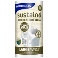 5 PACK of Hercules Sustain 60% Plant Based Kitchen Tidy Bag Large 20 pack