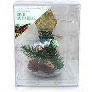 5 PACK of Christmas Woodland Bird On Bauble