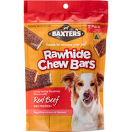 5 PACK of Baxter's Rawhide Chew Bars Beef 5 pack