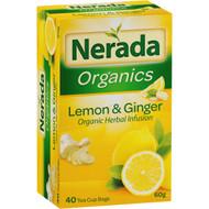 5 PACK of Nerada Organic Lemon & Ginger Tea Bags 40 pack