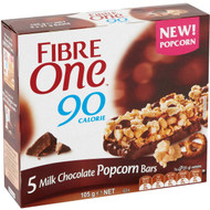 5 PACK of Fibre One Milk Chocolate Popcorn & Pretzel Bar 105g