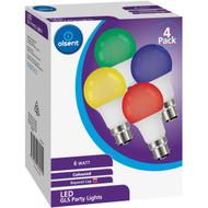 5 PACK of Olsent Led Gls Bc 6w Party Lights Multi Color 4 pack