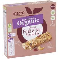 5 PACK of Macro Organic Classic Fruit & Nut Muesli Bars 6 pack