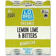 5 PACK of Lo Bros Kombucha Soda Lemon Lime & Bitters 4 x250ml