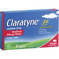 5 PACK of Claratyne Hayfever Allergy Relief Antihistamine Tablets 5 pack
