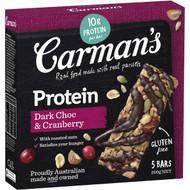 3 PACK OF Carman's Gourmet Protein Bars Dark Choc & Cranberry 200g