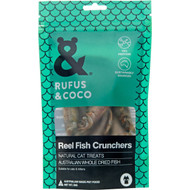 3 PACK OF Rufus & Coco Reel Fish Crunchers Cat Treats 30g