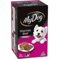 3 PACK OF My Dog Gourmet Beef Loaf Classics Wet Dog Food Trays 100g x6 pack
