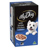 3 PACK OF My Dog Fillets In Gravy With Tender Chicken Wet Dog Food Trays 6pkx100g