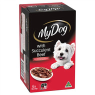 3 PACK OF My Dog Fillets In Gravy With Succulent Beef Wet Dog Food 6pkx100g