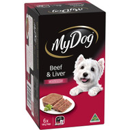 3 PACK OF My Dog Beef And Liver Loaf Classics Wet Dog Food Trays 100g x6 pack