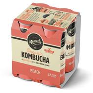 3 PACK OF Remedy Kombucha Peach Cans 250ml x4 pack