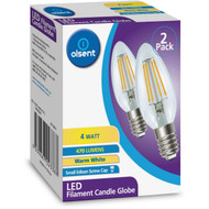 3 PACK OF Olsent Led Filament Candle Ses 4w 470lm 2 pack