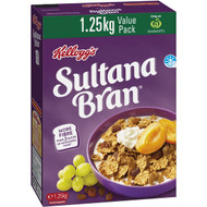 3 PACK OF Kellogg's Sultana Bran High Fibre Breakfast Cereal Value Pack 1.25kg