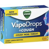 3 PACK OF Vicks Vapodrops Honey Lemon Menthol Lozenges 36 pack
