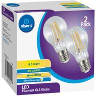 3 PACK OF Olsent Led Filament Gls Es 6.5w 810lm 2 pack
