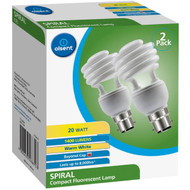 3 PACK OF Olsent Cfl Spiral Bc 20w 1400lm Ww 20w 2 pack