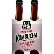 3 PACK OF Lo Bros Organic Kombucha Raspberry & Lemon 4 pack
