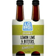 3 PACK OF Lo Bros Organic Kombucha Lemon Lime & Bitters 4 pack