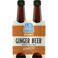 3 PACK OF Lo Bros Kombucha Ginger Beer 4 pack