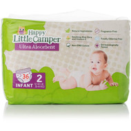 3 PACK OF Happy Little Camper Infant Natural Nappies 36 pack