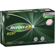 3 PACK OF Berocca Boost Energy Vitamin With Guarana Effervescent Tablets 20 pack