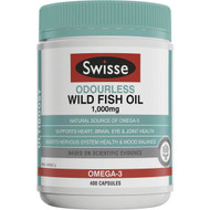 3 PACK OF Swisse Ultiboost Odourless Wild Fish Oil 1000mg Capsules 400 capsules