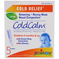 5 PACK of Boiron, ColdCalm, 5 Single Oral Liquid Doses, .034 fl oz Each