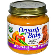 Organic Baby, Certified Organic Baby Food, Vegetable Turkey Dinner, 4 oz (113 g) (5 PACK)