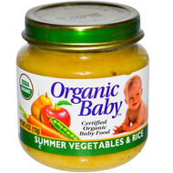 Organic Baby, Certified Organic Baby Food, Summer Vegetables & Rice, 4 oz (113 g) (5 PACK)